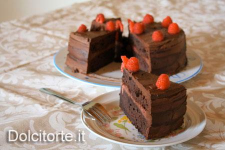 torta cioccolato e lamponi - fetta